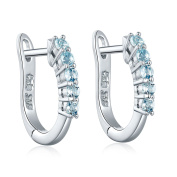 Hutang Natural Aquamarine Hoop Earrings Solid 925 Sterling Silver Gemstone Fine Jewellery Women's gift