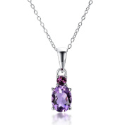 Hutang Natural African Amethyst & Rhodolite Solid 925 Sterling Silver Pendant Necklace Gemstone Jewellery Women's Xmas Gift 11.11