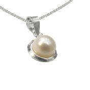 925 Sterling Silver 6mm White Freshwater Pearl Pendant with Silver Chain - June Birthstone - Gift Boxed