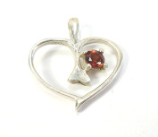 Beautiful Things for Women Garnet Gemstone Stamped 925 Sterling Silver Heart Pendant Round Cut