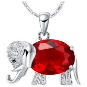 Elephant Necklace 925 Silver Red Elements Crystal Garnet Pendant Necklace for Women