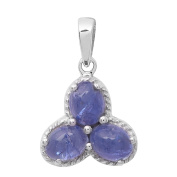 925 Sterling Silver Three Oval Tanzanite Gemstone Jewellery Pendant