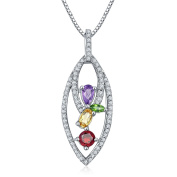 Hutang Natural Multi Gemstone Chrome Diopside & Citrine Solid 925 Sterling Silver Pendant & Necklace Fine Jewellery For Women