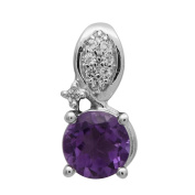 925 Sterling Silver Round Cut Amethyst White Topaz Gorgeous Pendant