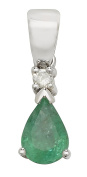 9ct White Gold Ladies Diamond Pendant with Emerald - 17mm*5mm