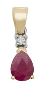 9ct Gold Ladies Diamond Pendant with Ruby - 17mm*5mm