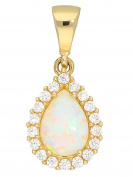 MyGold Opal Pendant without chain 585 yellow gold with jewels 1 Milky White Opal Pear Cut 18 Cubic Zirconia 18 mm x 8 mm Gem Pendant Gold Pendant with Opal Necklace Women Queen Bee V0013789