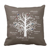 Cheyan Family Tree White Tree on Taupe 8 Names Dates Throw Pillow