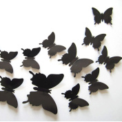 ZXYU Decorative Butterfly Stereo Simulation 3D Butterfly Wall Stickers Curtain Fridge Sticker Room Wedding Wallpaper Decorative 12pcs Black