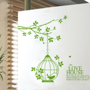 ZXYU Green Birdcage Environmental Protection Removable Wall Stickers