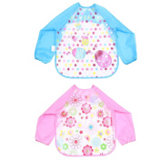 TiaoBug Unisex Infant Baby Waterproof Sleeved Feeding Bibs Kids Nursery Smock Apron Overclothes