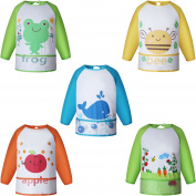 Ateid 5 Pack Baby Waterproof Long Sleeved Bibs