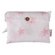 Minene Muslin Swaddle Blanket, Large, White with Pink Star