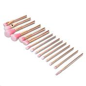 15 PCS Cylindrical Rose Gold Handle Makeup Brushes Makeup Eye Brush Set