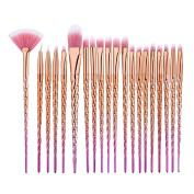 Frcolor Makeup Brushes Eye Brush Set Eyeshadow Eyeliner Cosmetic with Yellow Handle 20PCS