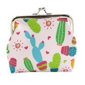 Ularma Women Girls Cute Cactus Coin Purse PU Wallet Bag Change Pouch Card Key Holder