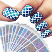 BZLine® New Fashion Design 12 Sheets New Nail Reusable Manicure Hollow Irregular Grid Stencil Stickers New