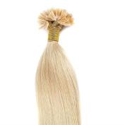 "100 Strands 18"" 20"" 22"" Pre Bonded Human Hair Extensions U Tip Keratin Nail Remy Hair Straight, 50cm -50g, #24 Natural Blonde …"