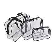 Galwad ®3 Pack Clear PVC Vinyl Zippered Luggage Toiletry Carry Pouch Travel Cosmetic Makeup Bag Clear Bag