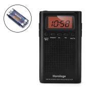 AM FM Pocket Radio, Portable Alarm Clock Radio with Time, Alarm, Radio, Digital Display,Stereo Mode and Including Battery
