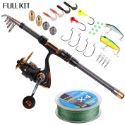 Supertrip TM Spin Spinning Fishing Rod and Reel Combos Full Kit Carbon Telescopic Fishing Rod with Reel Line Lures Hooks and Accessories Fishing Gear Sea Saltwater Freshwater Kit Fishing Full Kit