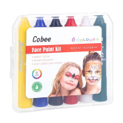 Cobee Face Paint Kit with Lipstick Design for Party Birthday and Festival, 6 Colours in Transparent Plastic Package