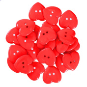 Mibo Nylon Heart Buttons 2 Hole 42 Line Red