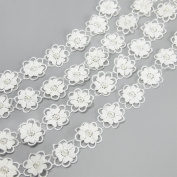 5 yards Embroidered Flower Lace Trims with Pearl on Organza Applique for Wedding,Sewing DIY Craft Ribbon