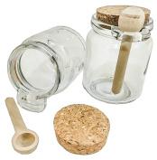 3ct. Premium 240ml Reusable Chefs Glass Spice / Salt Jar with Wooden Spoon