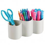 mDesign Office Supplies Trio Storage Cup for Pens, Paper Clips, Scissors - Light Grey