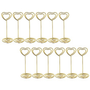 Bememo Gold Heart Shape Photo Holder Stands Table Number Holders Place Card Paper Menu Clips for Weddings, 12 Pack