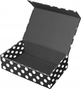 Snap-N-Store Magnetic Supply Box, 6.4cm x 14cm x 22cm , Black & White Polka Dots