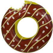 120cm Jumbo Chocolate Frosted Bitten Doughnut Inflatable Inner Tube Pool Ring Float