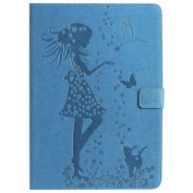 iPad Pro 9.7 Case , Billionn® beauty girl butterfly cat Embossed Premium PU Leather Flip Cover Shell Wallet Slim Stand Protective Cover for Apple iPad Pro 9.7