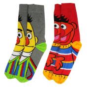 Sesame Street Y1H418 - Bert & Ernie 2 Pack Mens Socks (Size 6-11) One Size
