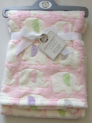 Beautiful Soft Baby Blanket With Elephants Pink/White 100 cm x 75 cm