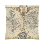 Custom Popular Vintage Old World Map Paper Zippered Pillow Case Decor Cushion Covers Square 41cm x 41cm