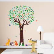 Decowall DML-1312 Large Tree with Animal Friends Peel and Stick Nursery Kids Wall Stickers Decals