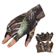 1 Pair Gloves 3 Finger Summer Fishing Glove, LU2000 Breathable Sun-proof Waterproof Non-slip Elastic Camouflage Gloves - Free Size
