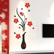 Transer@ DIY Vase Flower Tree Crystal Arcylic 3D Wall Stickers Home Window Wall Decal Decor