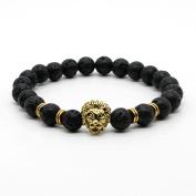 IzuBizu London - Black Lion Bracelet 18CT Gold Lava Stone Beads - Free Gift Box