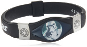Star Wars Jewellery Unisex Stormtrooper Steel and Black Silicon Kid's Bracelet