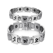 "LALOPEZMens & Womens Titanium Steel Buddhist Six True Syllable Mantra ""OM MA I PADME HUM"" Magnetic Link Bracelet For Couples.Silver/Gold"
