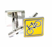 gemelolandia – Yellow Square Cufflinks Cycling, Yellow and Black