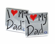 gemelolandia – Square I Love My Dad Cufflinks, White – Black and Red