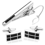 Gnzoe Stainless Steel Men's Silver Black Two Tone Cuff Link and Tie Bar Set
