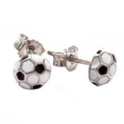 Ass 925 silver football Enamel Stud Earrings With White And Black