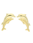 MyGold Dolphin Dolphin Stud Earrings 9 mm x 10 mm Yellow Gold 585 Gold without stone stud earrings with Matt Gold Earrings Dolphin Twins Children Girls Women V0004009