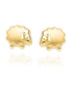 MyGold Sheep Stud Earrings Yellow Gold 585 Gold without stone stud earrings with Matte and Glossy 5 mm Diameter Baby Children Birth Christening Gold Stud Children's Earrings with Sheep V0004436