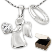 Clever Jewellery Set Angel 15 mm 2 x Silver Pendant with White Cubic Zirconia Heart in Hand with ø 12 mm Slim Baptismal Ring with Cubic Zirconia and Venice Chain 36 cm Sterling Silver 925 with Case